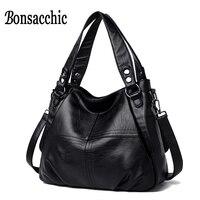 Bonsacchic Genuine Leather Hobo Bags Luxury Handbags Women Black Bags Designer Bolsa Feminina Couro Ladys Real Leather Bags Tote