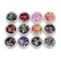 12 Colors Nail Art Tips Stickers Acrylic 3D Glitter Sequins Manicure DIY Nail Decoration 3MY4