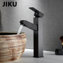 JIKU Bathroom Faucet Black Single Handle Hot Cold Switch Water Mixer Taps Wash Basin Deck Mounted