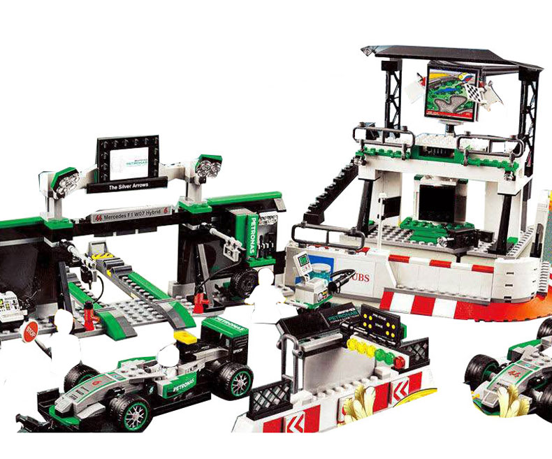 28006 Genuine Super Racer Series Race Track The AMG PETRONAS Formula Team Set Building Blocks Compatible  75883 compatible with lego technic 75883 lepin 28006 1016pcs amg petronas formula one team building blocks bricks toys for children