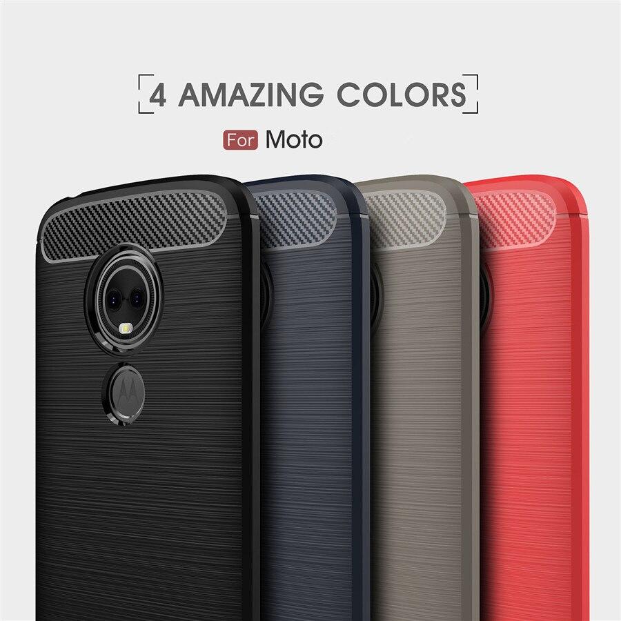 Shockproof Phone Case For Motorola E5 Play Cases Power Cover MOTO E6 E5 E4 C Plus G5s Carbon Fiber TPU Silicone Phone Back Case