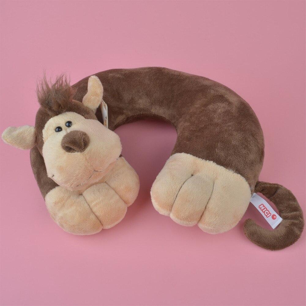 Macaco de pelúcia em forma de u pescoço travesseiro de viagem, almofada de cabeça de pelúcia descanso travesseiro frete grátis