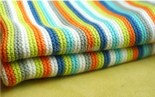 Cotton Infant Blankets Crochet And Knitted Six Color Rainbow Baby