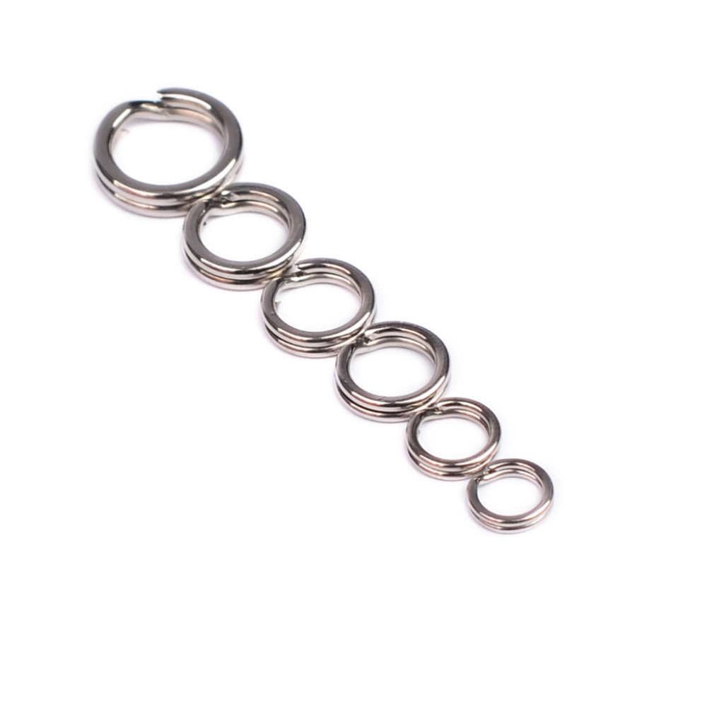 100pcs/lot Double Flat Ring Sheathed Flattening Lure Hook Connecting Ring Bending Flat Double Ring Fishing Accessories