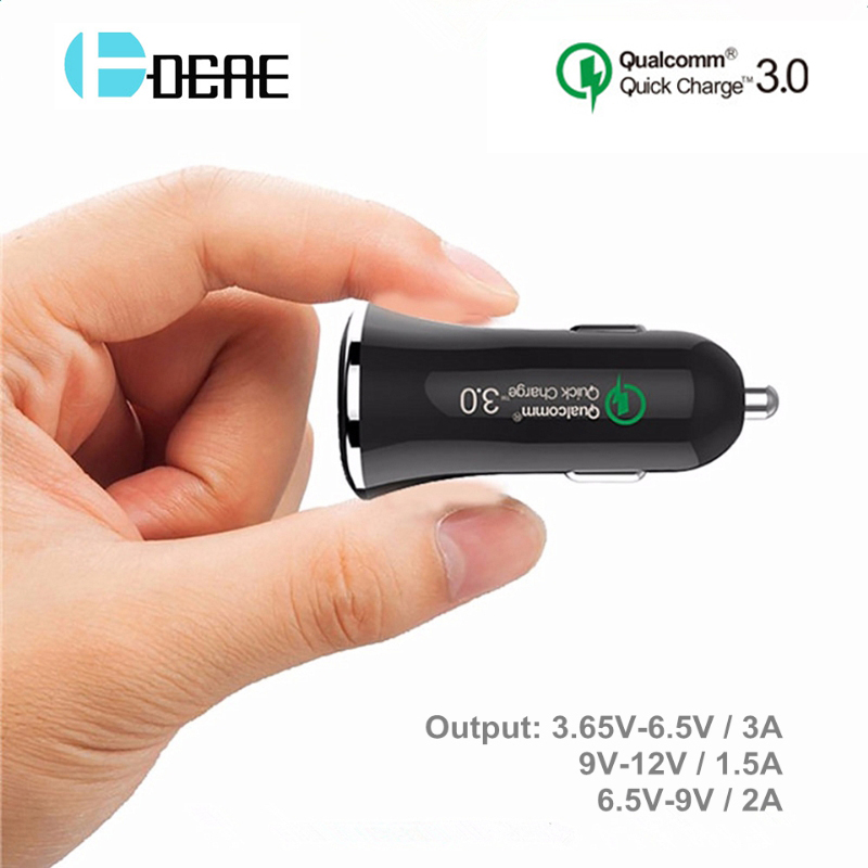 DCAE Quick Charge 3.0 18W Car-Charger Fast USB Charger QC3.0 Car Charger adapter for iphone X 8 7 samsung galaxy s8 s9 s7 Xiaomi