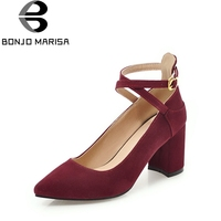 BONJOMARISA 2018 Spring Autumn Brand Wine Pumps Sexy Pointed Toe Large Size 31 43 Shoes Woman