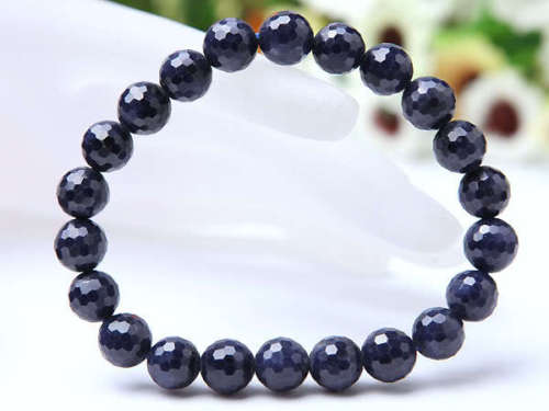 Genuine Natural Blue Sapphire Gemstone 7mm Women Man Bracelets Stretch Faceted Round Beads Bracelet Powerful Rare Stone AAAA