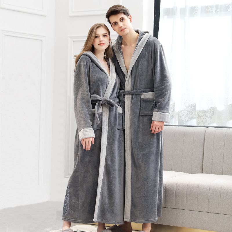 New Flannel Warm Winter Bathrobe For Men Women Stitching Color Hooded String Long Bath Robe Home Male Dressing Gown
