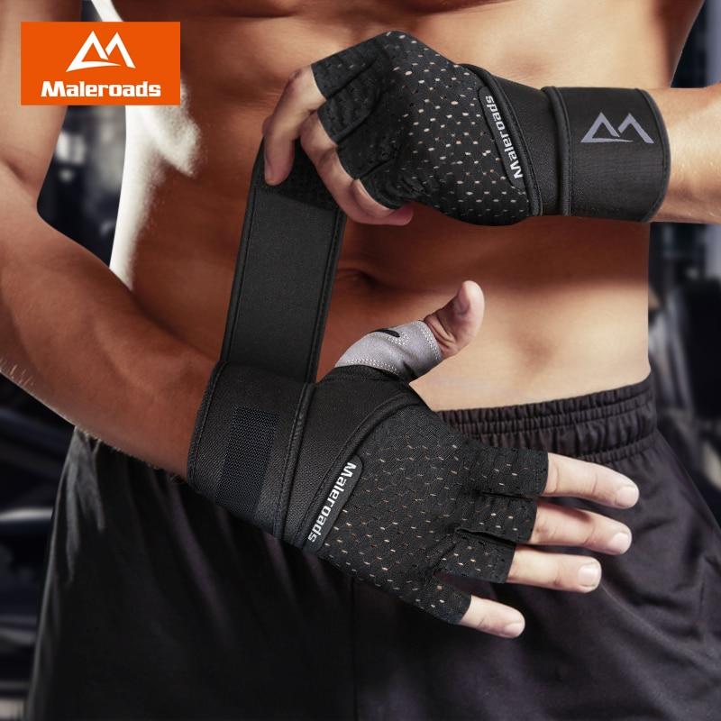 Maleroads Gym Fitness Gloves Men Women Heavyweight Sport Glove Body Building Training Wrist Support Weight Lifting Gloves M L XL strength training