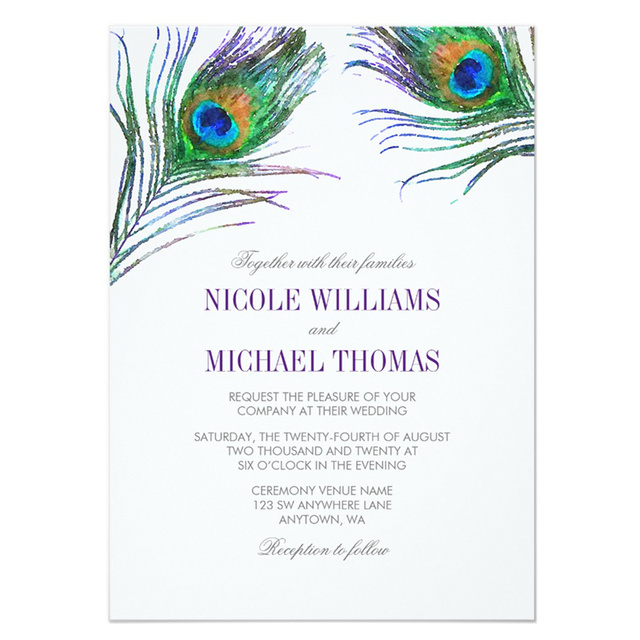 Personalized Watercolor Peacock Feather Wedding Invitation In Cards
