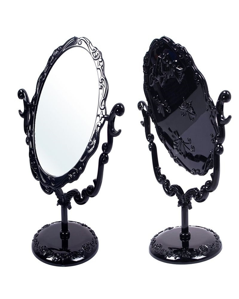 Desktop Rotatable Gothic Small Size Rose Makeup Stand Compact Mirror Black Erfly