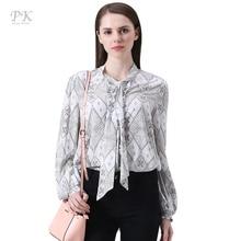 PK vintage women blouses 2018 spring summer print viscose chiffon blouse feminino korean imported-china long sleeve women blouse