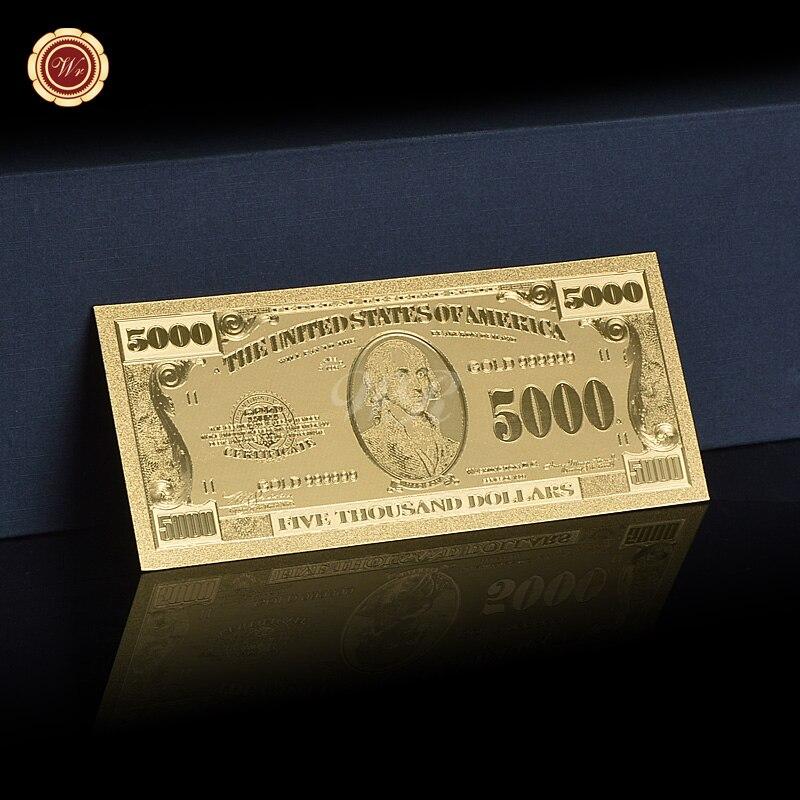 Банкнота из американского золота 5000 долларов США в подарок, Банкнота из золотой фольги 24K, бумажные деньги для украшения дома, подарок