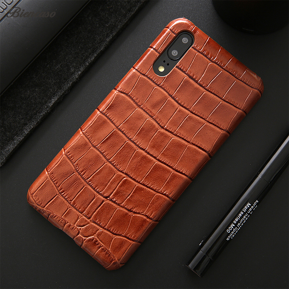 Biencaso Luxury Crocodile Genuine Leather Case For Huawei P20 Mate 10 Pro Back Cover For iPhone X 6 7 8 Plus 6+ 7+ 8+ Fundas B89