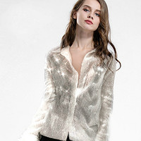 Chic sequined Chiffon Shirts Loose Beading Cardigan Blingbling lapel metal buckles long sleeve loose Stage Show Blouses Tops