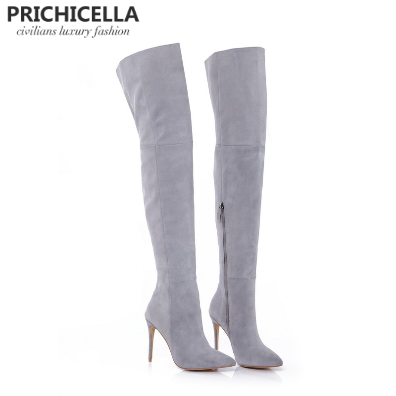 PRICHICELLAหนังแท้ต้นขาบู๊ทส์กริชส้นแหลมบางกว่านิ้วเท้าเข่าบู๊ทส์size34 42-ใน รองเท้าบู๊ทเหนือเข่า จาก รองเท้า บน   3