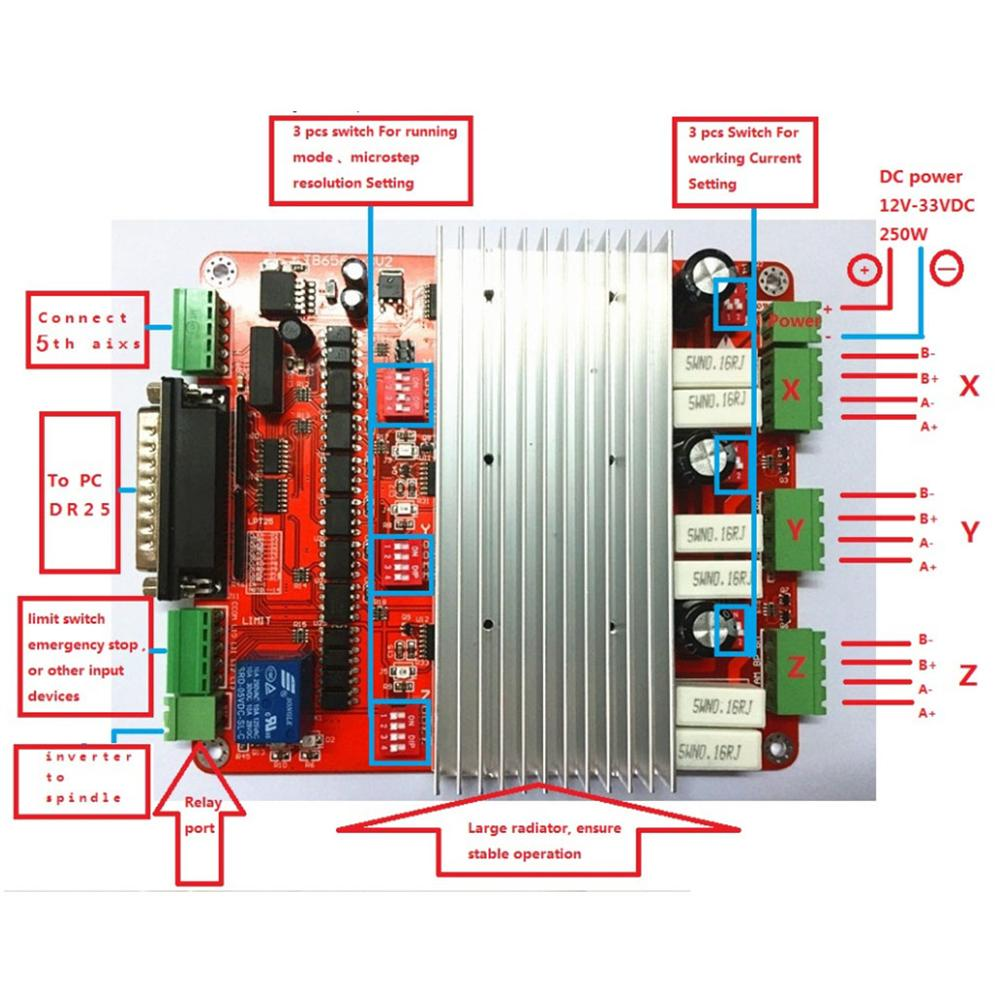 CNC 3 оси 4 оси TB6560 3.5A шаговый двигатель драйвер контроллер mach3 usb схема инвертор для платы сварки