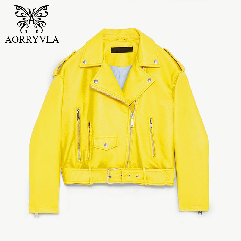 AORRYVLA PU Leather Jacket Women Spring Autumn 2019 Yellow Color Belt Zippers Short Length Turn Down