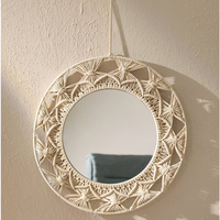 Macrame Tapestry Wall Hanging Decorative Mirror Knot Knit Tapestry Round Mirror Bohemian Espejos Decorativos