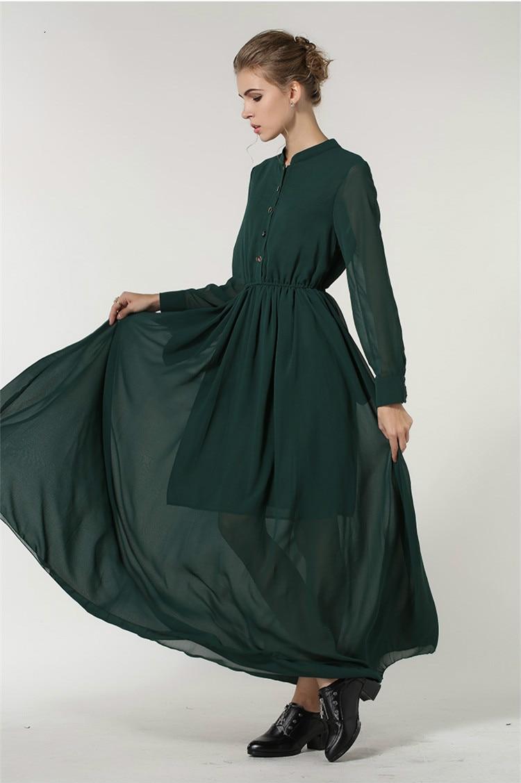 8fd1e1b8cb US $26.19  PlusSize Women Elegant Summer Fashion Vintage Full Sleeve  Chiffon Long Muslim Women Dress Solid Floor Length Maxi Dresses Female-in  Islamic ...