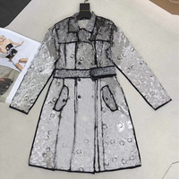 2018 New Fall Fashion Design Trench Coat Women Print Double Breasted Sashes Transparent Raincoat Long Coats Outwear abrigo mujer