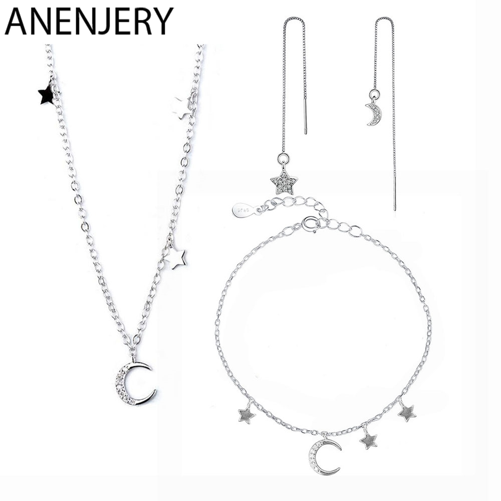 Anenjery S925 Stamp Silver Color Micro Zircon Moon Star Short Necklace+Bracelet+Earrings Jewelry Sets For Women Girl