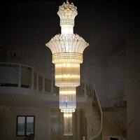 Modern Luxury K9 Crystal Chandelier Stairs Light 110 240V Remote Control Led Chandelier Lighting Lustre Hotel