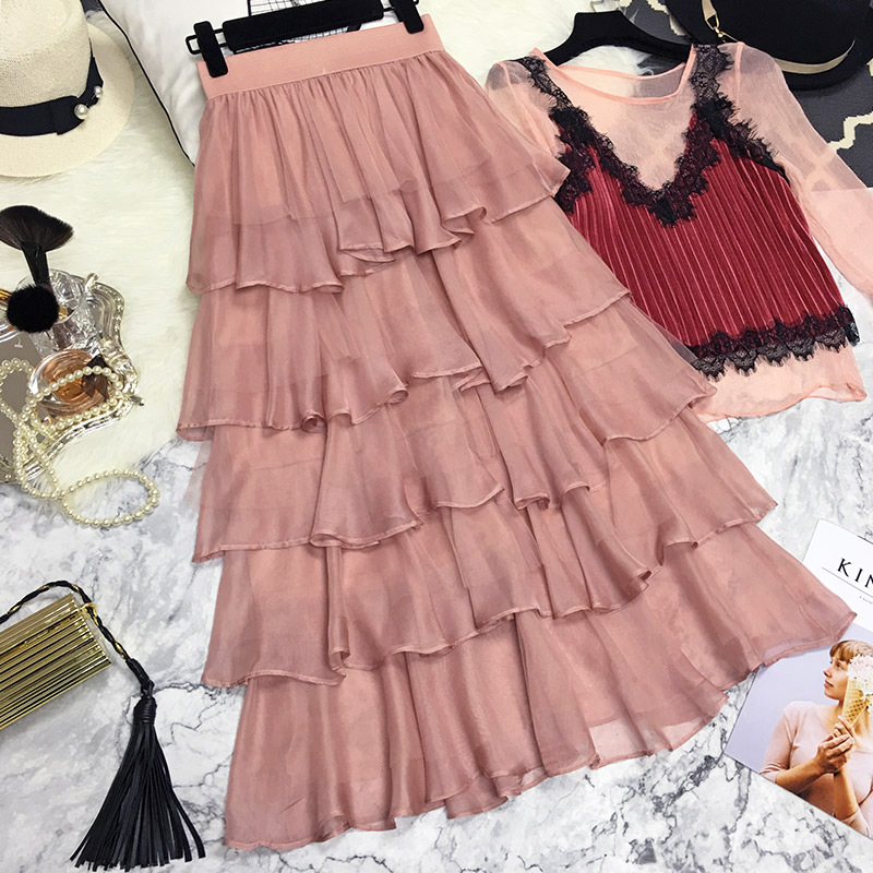 Fashionable Tiered Layered Skirt With Black Ribbons A Line Tee Length Midi Skirt Customized Smart Women Skirts Back To Search Resultswomen's Clothing