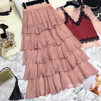 Princess Style Tiered Skirts Women Elastic Waistline A Line Tee Length Midi Skirt Sweet Layered Tulle Chiffon Skirt Free Size tights