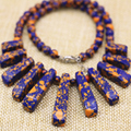 Multicolor faux Phoenix lapis lazuli turquoise stone 6mm round beads diy necklace 15-39mm 11pcs rectangle pendant 18inch B3137