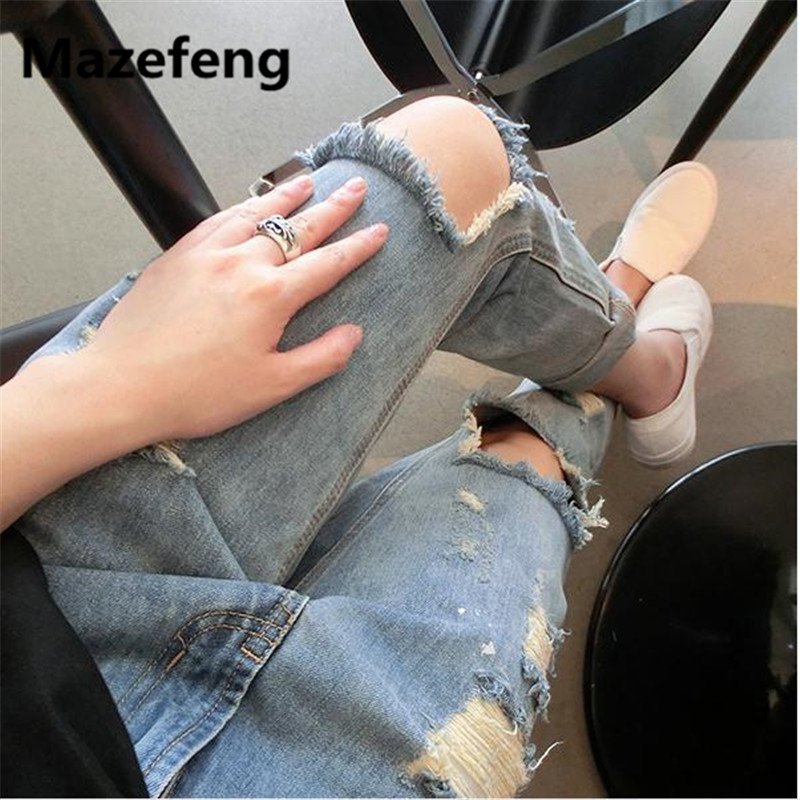 Mazefeng Boyfriend hole ripped jeans women pants Cool denim vintage straight jeans for girl Mid waist casual pants female new boyfriend hole ripped jeans women pants cool denim vintage straight jeans for girl high waist casual pants female slim jeans