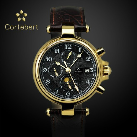 aliexpress com buy luxury cortebert the swiss top watch mens aliexpress com buy luxury cortebert the swiss top watch mens watch automatic mechanical watch waterproof phase of the moon calendar male s gift from