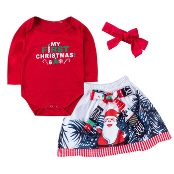 2018New 0-24M Baby Set Newborn Infant Baby Girls Clothes Sets 3PCS Christmas  Long Sleeve Romper Tops Floral Skirts+Headband Baby Clothing