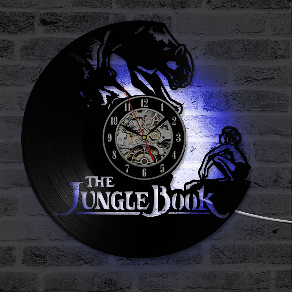 Black Hollow Cartoon CD Record Wall Clock The Jungle Book Vinyl Antique Style Hanging Clock Great Gift For Kids LED with 7colors