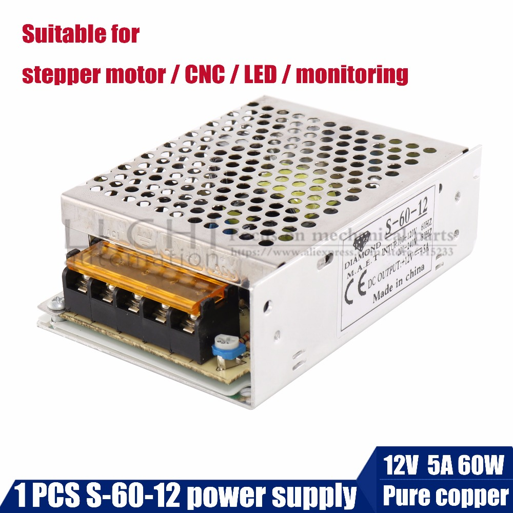 Shop Promotions 12V5A60W AC/DC universal Switching power supply for stepper motor nema17 neam23/ CNC / LED/monitoring/3D printer dc60v 350w 5 9a switching power supply 115v 230v to stepper motor diy cnc router