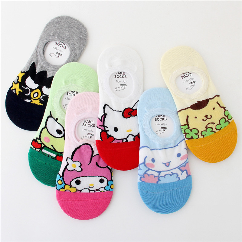 Women Socks Small Animal Cartoon Cat Pattern Boat Sock Summer Breathable Casual Kawaii Girls Cute Funny Fashion Calcetines Mujer