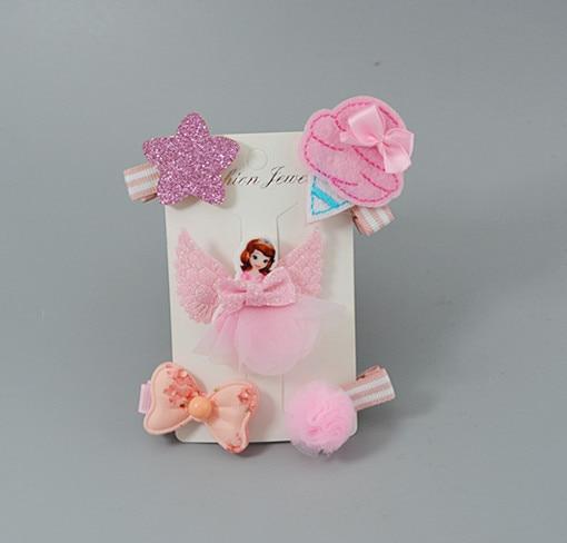 5PCS Kids Children Accessories Hairpins Barrettes Baby Bow Flower Headwear
