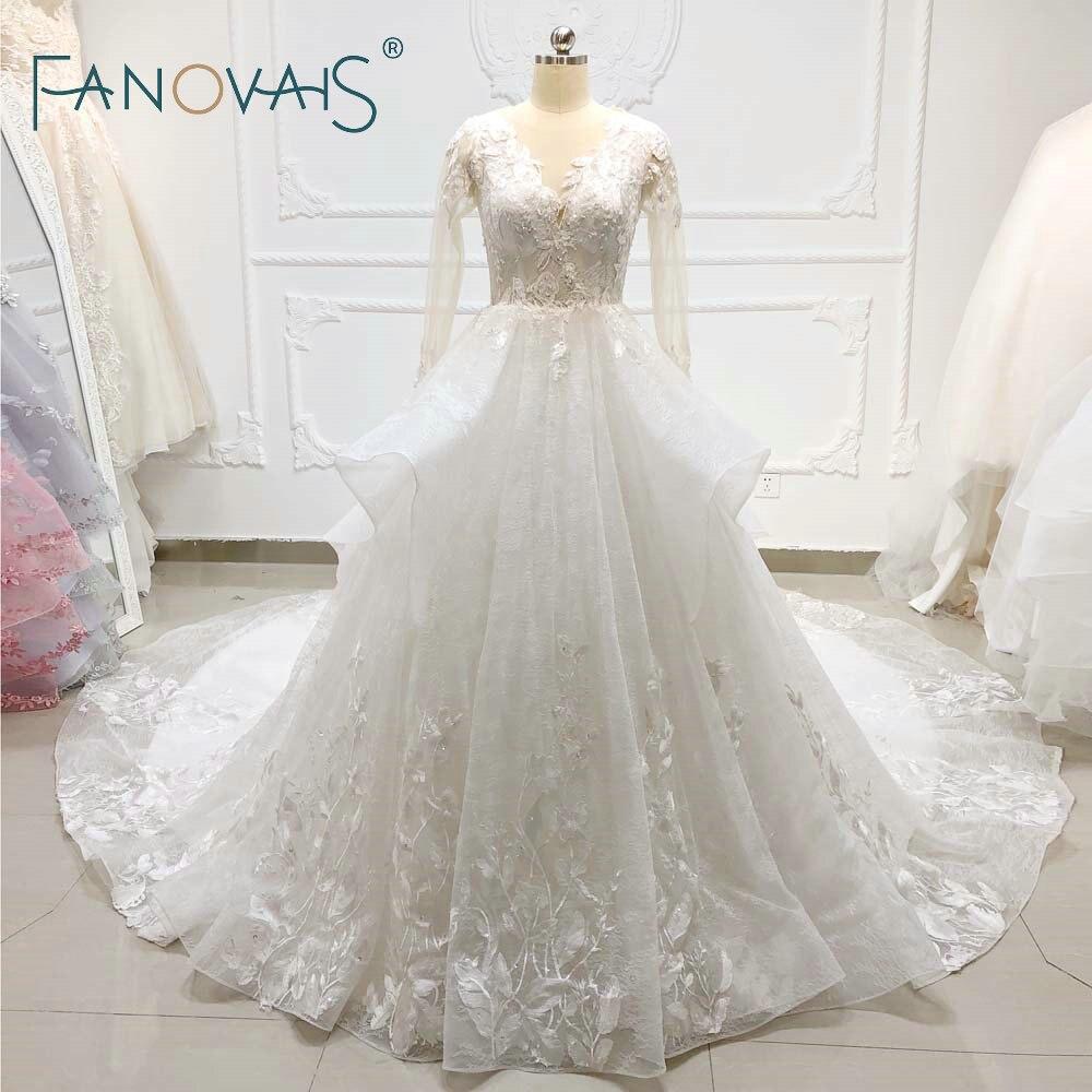 Vintage Lace Wedding Dresses Long Sleeves Ball Gown Wedding Dress Vestido De Novia 2019 Robe De Soiree Modest Dress for Women
