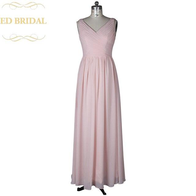 Eine Linie V ausschnitt Erröten Rosa Lange Brautjungfer Kleid ...