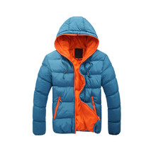 2017 new arrivals winter men's casual warm thick candy color zipper parka coat hooded 4 colors jacket for youth men