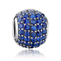 Pave Blue Crystal Ball 100 925 Sterling Silver Charm Beads Fits Pandora European Charms Bracelet Y