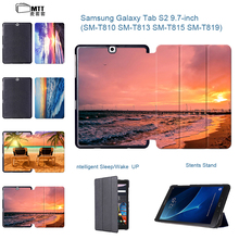 "Colorful Seascape Magnetic PU Leather Cover for Samsung Galaxy Tab S2 9.7 SM-T810 T815 9.7"" Stand Case for Galaxy Tab s2 9.7"
