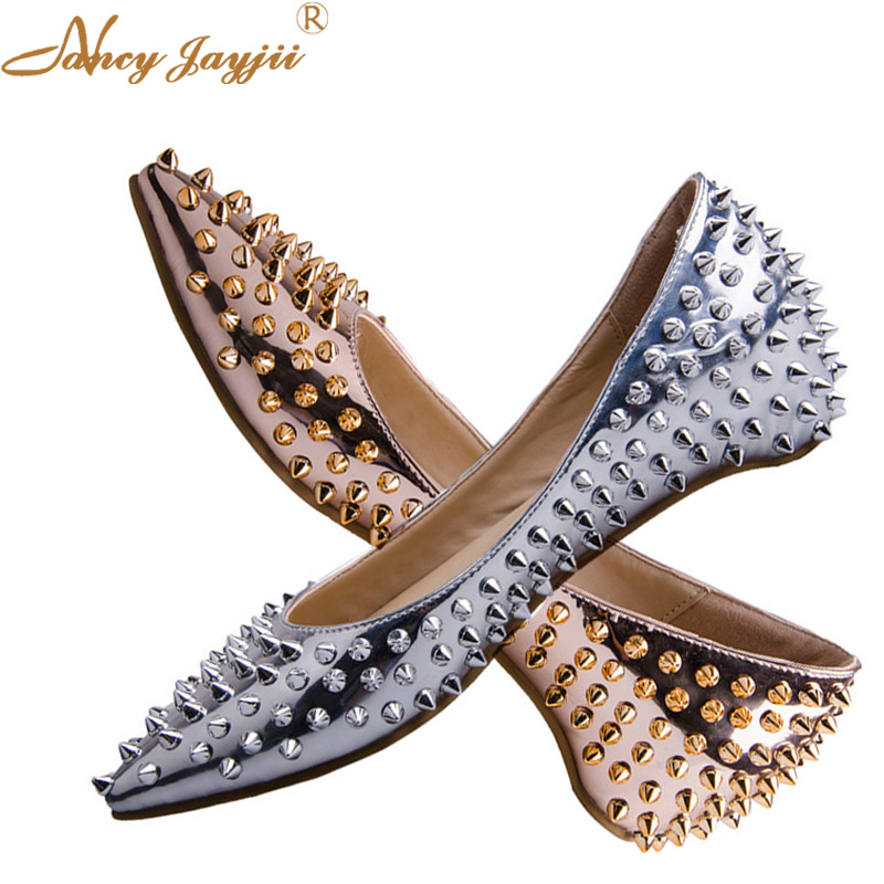 Silver Gold Summer Spring Rivet Flats Luxury Women Ballet Flats Comfort Pointed Toe Casual Party Shoes Woman 2018 Zapatos Mujer drfargo spring summer ladies shoes ballet flats women flat shoes woman ballerinas pointed toe sapato womens waved edge loafer