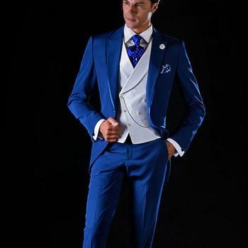 Italian Royal Blue Men Wedding Suits Men Blazers Groom Tuxedos 3Piece Coat Pants Vest Costume Homme Terno Masculino Peaked Lapel