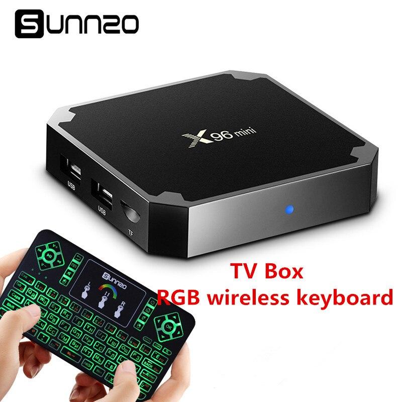 Smart Android 7.1 TV BOX X96mini Amlogic S905W Quad Core 1+8GB Kodi 17.3 Streaming Media Set-top Box + Russia RGB Keyboard 5pcs android tv box tvip 410 412 box amlogic quad core 4gb android linux dual os smart tv box support h 265 airplay dlna 250 254