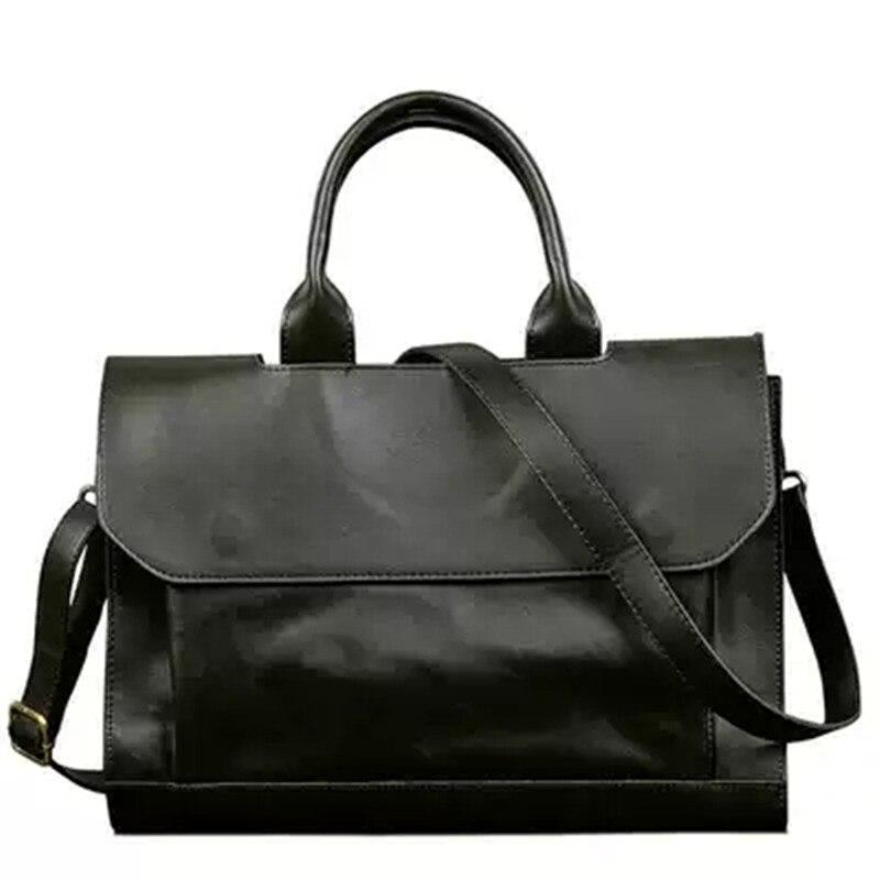 Men's Briefcase Handbag Laptop-Bag Retro Crazy-Horse Crossbody-Bags Messenger Business