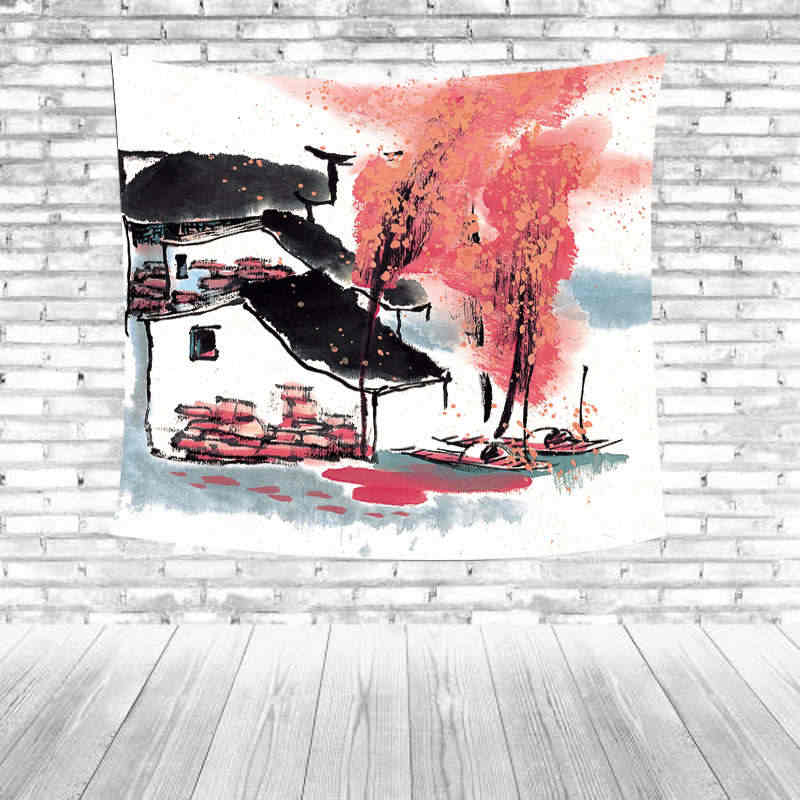 Hot Selling Watercolor Painting Style Tapestry Colorful Yellow Striped Boat House Country Towel Pad Living Room Decor Carpet
