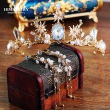 HIMSTORY 2019 New Baroque Luxury Crystal CZ Bridal Crown Tiaras Light Gold Diadem for Women Bride Wedding Hair Accessory