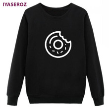 IYASEROZ Womens Hoodies Donuts Sweatshirt Women Cute Graphic Printed Autumn Halajuku Hooded Jumper Tracksuit Moletom Tumblr