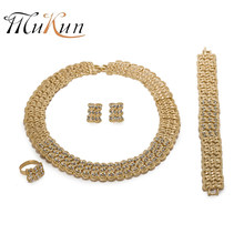 MUKUN Ethiopian jewelry Nigerian Woman Wedding African Beads Jewelry Set Fashion crystal jewellery Dubai Jewelry sets Wholesale(China)